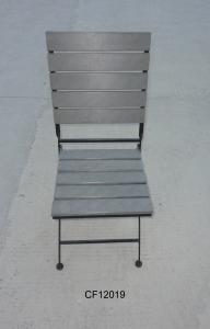 Outdoor Iron and Wood Plastic Board Square Folding Chair