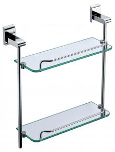 Decorative Organize Exquisite Bathroom Accessories Solid Brass Double Glass Shelf