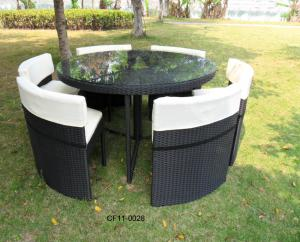 Modern Leisure Rattan Outdoor Garden Furniture One table Six Chairs