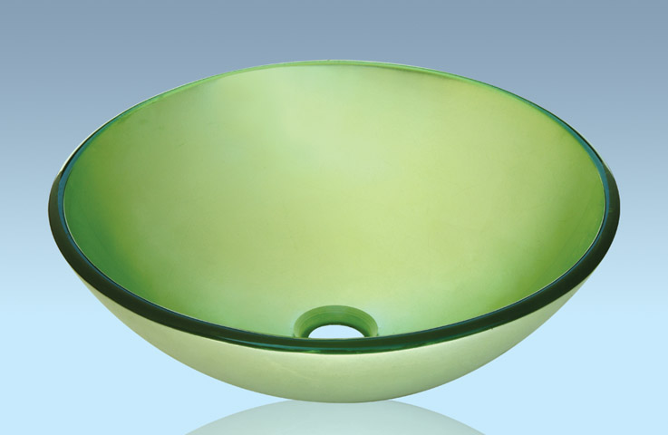 Unique Design Hot Selling Bathroom Product Tempered glass Light Green Washbasin