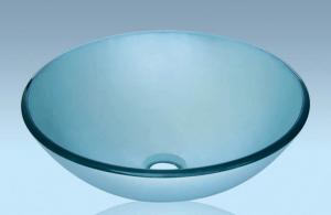Unique Design Hot Selling Bathroom Product Tempered glass Light Blue Washbasin
