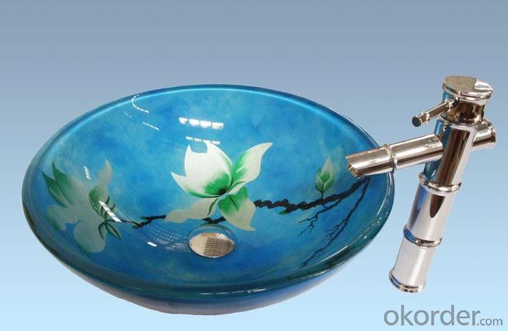 Hot Selling New Design Bathroom Product Tempered glass Light Blue Flower WashbasinSet