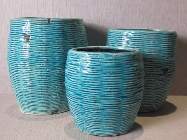 Hot Selling New Design Home Decorative Ceramic Light Blue Weaving Style Flowerpot M