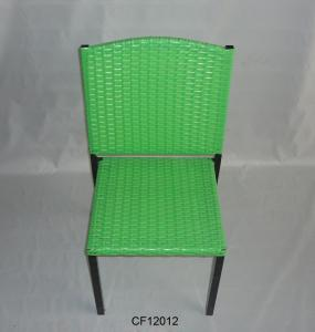 Classical Outdoor Furniture Iron and PE Rattan  Green Children Chair