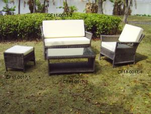 Rattan Modern Outdoor Garden Furniture One Lover Sofa One Single Sofa One Ottam And One Tea Table