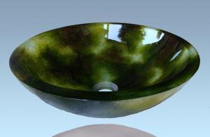 Hot Selling New Design Bathroom Product Tempered glass Dark Green Washbasin