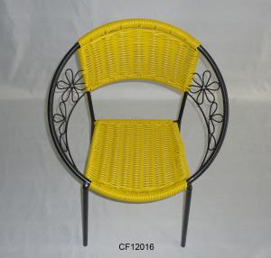 Classical Outdoor Furniture Iron and PE Rattan Yellow Children Chair