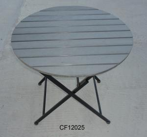 Outdoor Iron and Wood Plastic Board Round Folding Table
