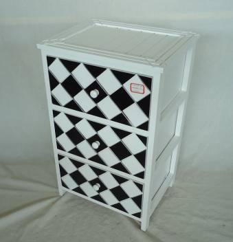 Home Storage Cabinet White-Painted Paulownia Wood With 3 Black And White Plaid Pattern Two-Tone Drawers