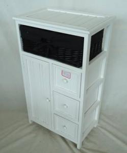 Home Storage Cabinet White-Painted Paulownia Wood With 1 Stained Wicker Basket With Liner