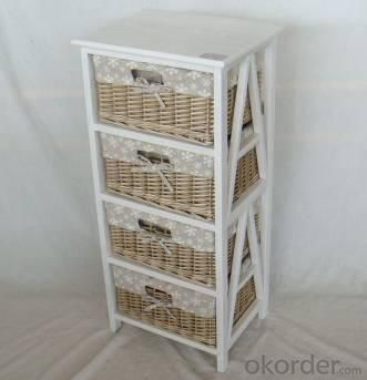 Home Storage Cabinet Roasted White Paulownia Wood With 4 Washed-Grey Wicker Baskets With Liners