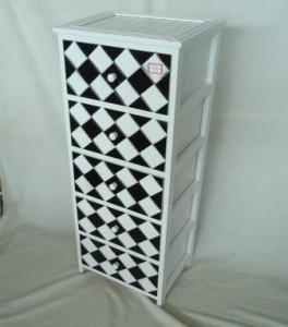 Home Storage Cabinet White-Painted Paulownia Wood With 5 Black And White Plaid PatternTwo-Tone Drawers