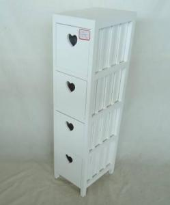 Home Storage Cabinet White Paulownia Wood Frame With 4 Drawers