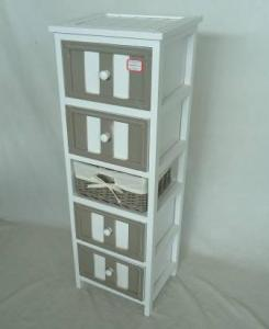 Home Storage Cabinet White-Painted Paulownia Wood With 1 Wicker Basket