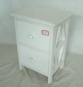 Home Storage Cabinet White Water-Painting Paulownia Wood With 2 Drawers