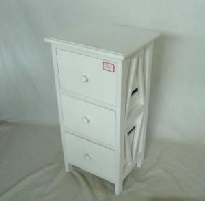 Home Storage Cabinet White Water-Painting Paulownia Wood With 3 Drawers