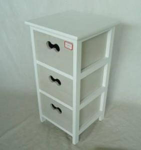Home Storage Cabinet White-Painted Paulownia Wood Frame With 3 Washed-Grey Drawers