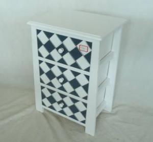Home Storage Cabinet White-Painted Paulownia Wood With 3 Plaid Pattern Two-Tone Drawers