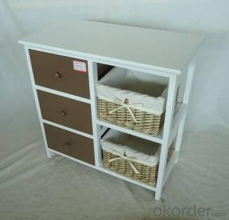 Home Storage Cabinet White Paulownia Wood Frame With 2 Washed-Grey Baskets