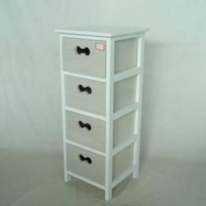 Home Storage Cabinet White-Painted Paulownia Wood Frame With 4 Washed-Grey Drawers