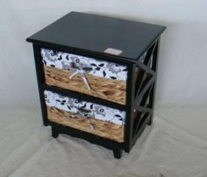 Home Storage Cabinet Black-Painted Paulownia Wood With 2 Natural Waterhyacinth Baskets With Liners