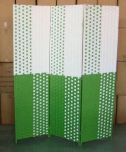 Home Storage Cabinet Flat Paper Woven Over  Wood Frame Room Light Color Divider(3 Panels)