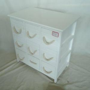 Home Storage Cabinet White Paulownia Wood Frame With 9 Wooden Drawers