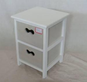 Home Storage Cabinet White-Painted Paulownia Wood Frame With 2 Washed-Grey Drawers