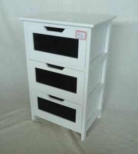 Home Storage Cabinet White Painting Paulownia Wood Frame With 3 Chalkboard Drawers