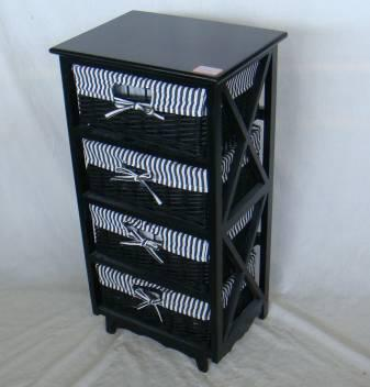 Home Storage Cabinet Black-Painted Paulownia Wood With 4 Stained Wicker Baskets With Liners