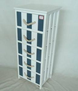 Home Storage Cabinet White-Painted Paulownia Wood With 5 Two-Tone Drawers With Cotton Handles