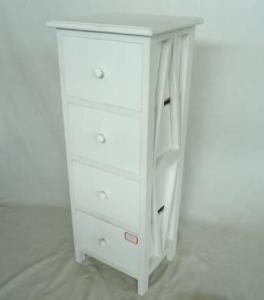 Home Storage Cabinet White Water-Painting Paulownia Wood With 4 Drawers