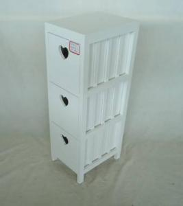 Home Storage Cabinet White Paulownia Wood Frame With 3 Drawers