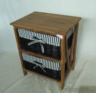 Home Storage Cabinet Roasted Pine Wood With 2 Stained Wicker Baskets With Liner