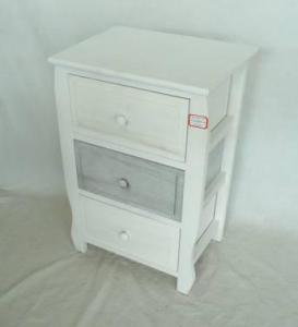 Home Storage Cabinet Washed-White Paulownia Wood Cabinet With 3 Drawers