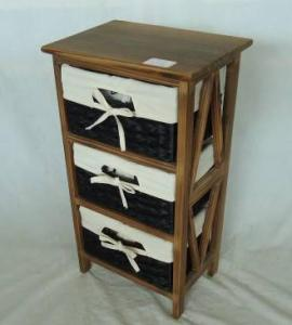Home Storage Cabinet Roasted Pine Wood With 3 Stained Waterhyacinth Baskets With Liner