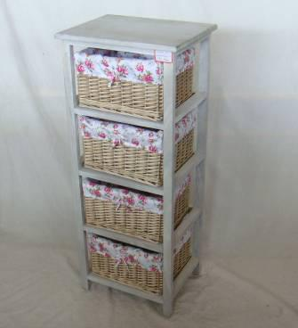 Home Storage Cabinet Washed-Grey Paulownia Wood With 4 Wicker Baskets With Liners