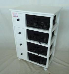 Home Storage Cabinet White-Painted Paulownia Wood With 4 Stained Wicker Linen Baskets With Wheel