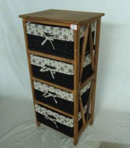 Home Storage Cabinet Roasted Pine Wood With 4 Stained Seagrass Baskets With Liner