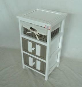 Home Storage Cabinet White-Painted Paulownia Wood With 1 Wicker Basket And 2 Drawers
