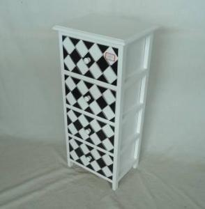 Home Storage Cabinet White-Painted Paulownia Wood With 4 Two-Tone Drawers