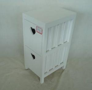 Home Storage Cabinet White Paulownia Wood Frame With 2 Drawers