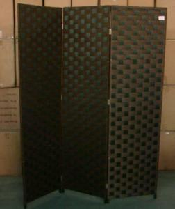 Home Storage Cabinet Flat Paper Woven Over  Wood Frame Room Divider(3 Panels)
