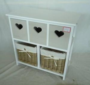 Home Storage Cabinet White Paulownia Wood Frame With 2 Willow Washed-Grey Baskets