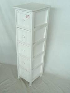 Home Storage Cabinet White Water-Painting Paulownia Wood With 5 Drawers