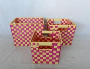 Home Storage Willow Basket Flat Paper Woven Over Metal Frame Bright Colors Baskets S/3