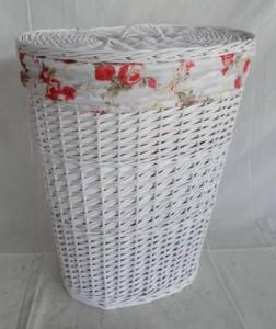 Home Storage Laundry Basket White Painted Woodchip And Willow Laundry Basket