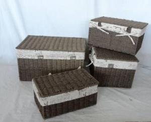Home Storage Hot Sell Twisted Paper Rope Woven Over Metal Frame Baskets With Lid S/4
