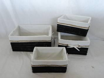 Home Storage Hot Sell Pp Tube Woven Over Metal Frame Baskets S/4