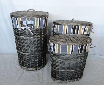 Home Storage Hot Sell Washed-Grey Woodchip Gray Laundry Baskets With Liner S/3